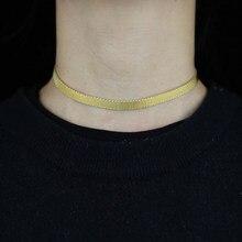 Largeur 7mm plat serpent os chaîne colliers femmes hommes classique Hip Hop Chocker bijoux étanche Filmy serpent chaîne collier