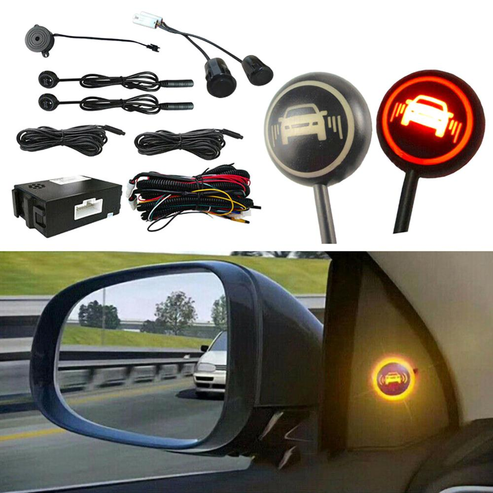 Car Black Blind Spot Monitoring Ultrasonic Sensor Distance Assist Lane Change Tool Blind Spot Mirror Radar Detection System