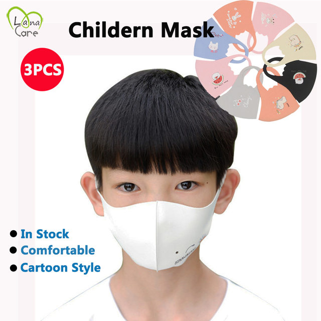 3PCS Kids Mask Boys Girls Comfortable Face Mask Breathable Reusable Cartoon Children Mask 3