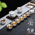 Фарфоровый серебряный чайный набор кунг-фу домашняя ручная Крышка чайника чаша Серебряная чайная чашка простой подарок китайский стиль ча...