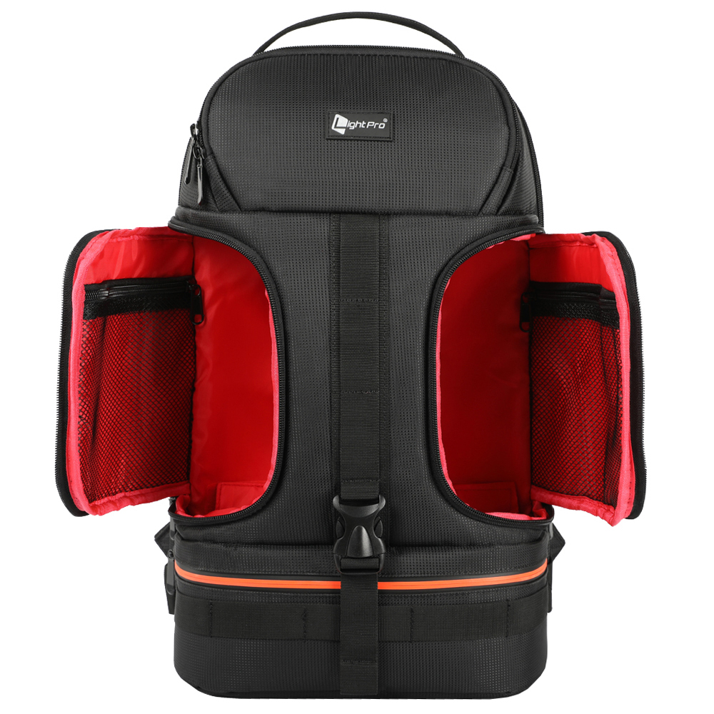 Pro Camera Case Waterproof Shockproof Camera Backpack Bag with Tripod Holder Red