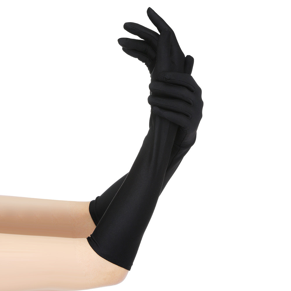 2019 Crystal Women Sexy Party Gloves 22'' Long Black White Satin Finger Mittens High Quality Fashion Gift  109#2*