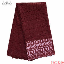 Anna african style embroidery french net lace fabric 2020 high quality nigerian tulle lace fabrics 5 yards/piece for party dress(China)
