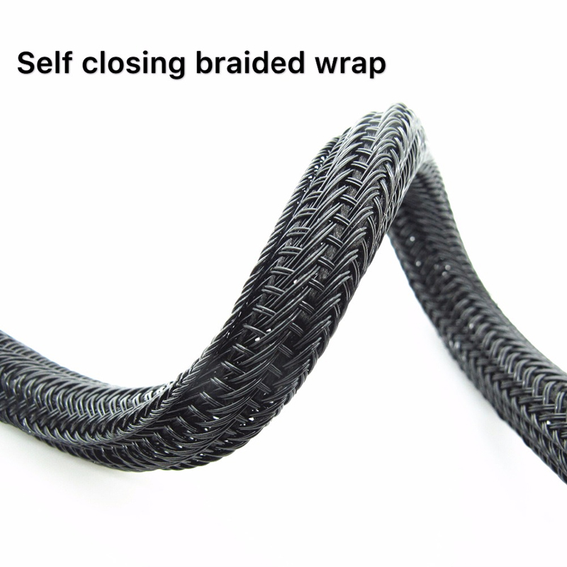 F6 self closing braided wrap split braided cable sock
