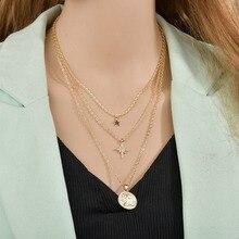Modyle las mujeres collares estrella virgen Mary la clavícula colgante cadena de oro multicapa Color collar de regalo de la joyería