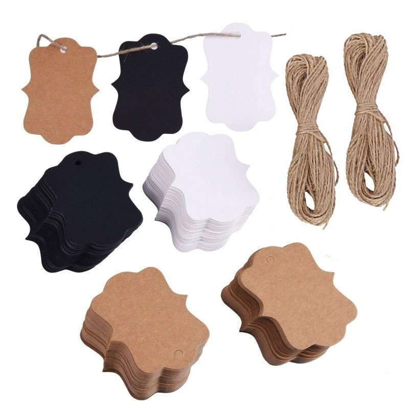 100Pcs Kraft Paper Gift Tags 1.2x2 inch with 100 Feet Jute Twine Perfect for Price Tags Packaging Hang Marking Garment Tags