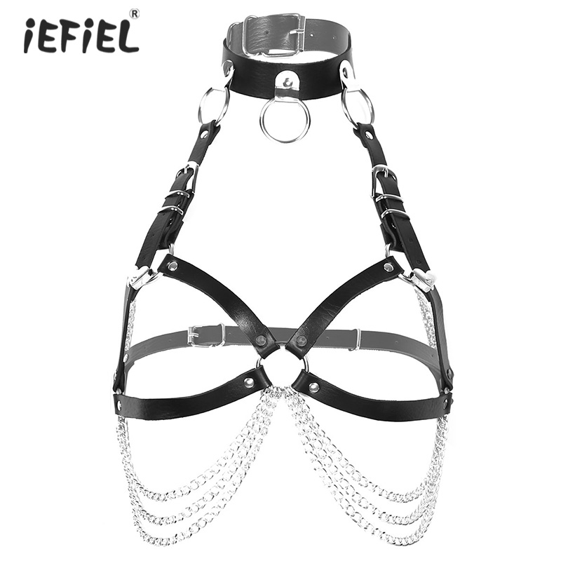Womens Punk Gothic PU Leather Roleplay Costumes Adjustable Body Chest Harness Straps Waist Belt Metal Chain Tassel Sexy Clubwear