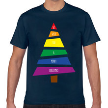Tops T Shirt Men christmas tree gay lgbt lesbian homosexual Comic Inscriptions Cotton Male Tshirt(China)