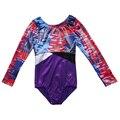Для девочек's гимнастическое боди с длинным рукавом металлик для бальных танцев боди 5 - 12Y