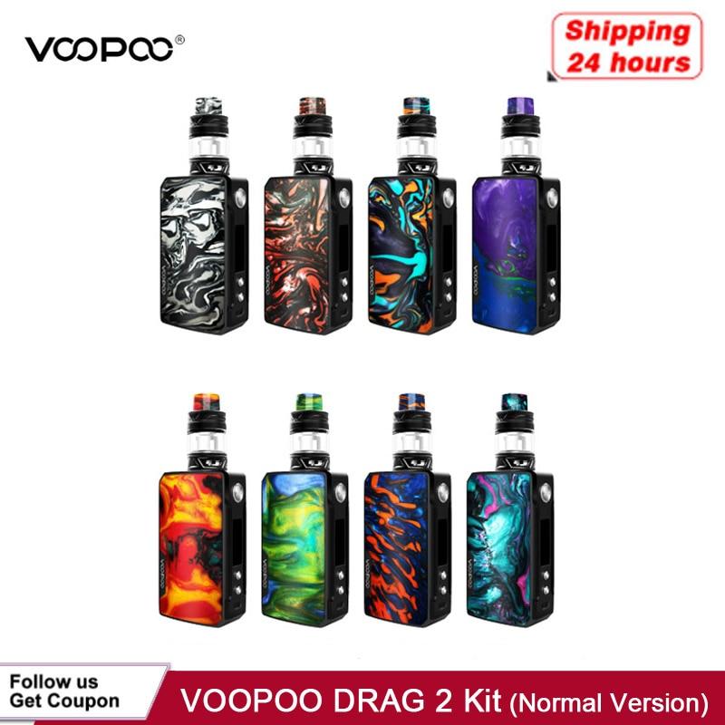 Stock Voopoo Drag 2 Platinum 177W TC Kit electronic cigarette With Uforce T2 Powered By Dual 18650 Vape Vaporizer VS Shogun/X217