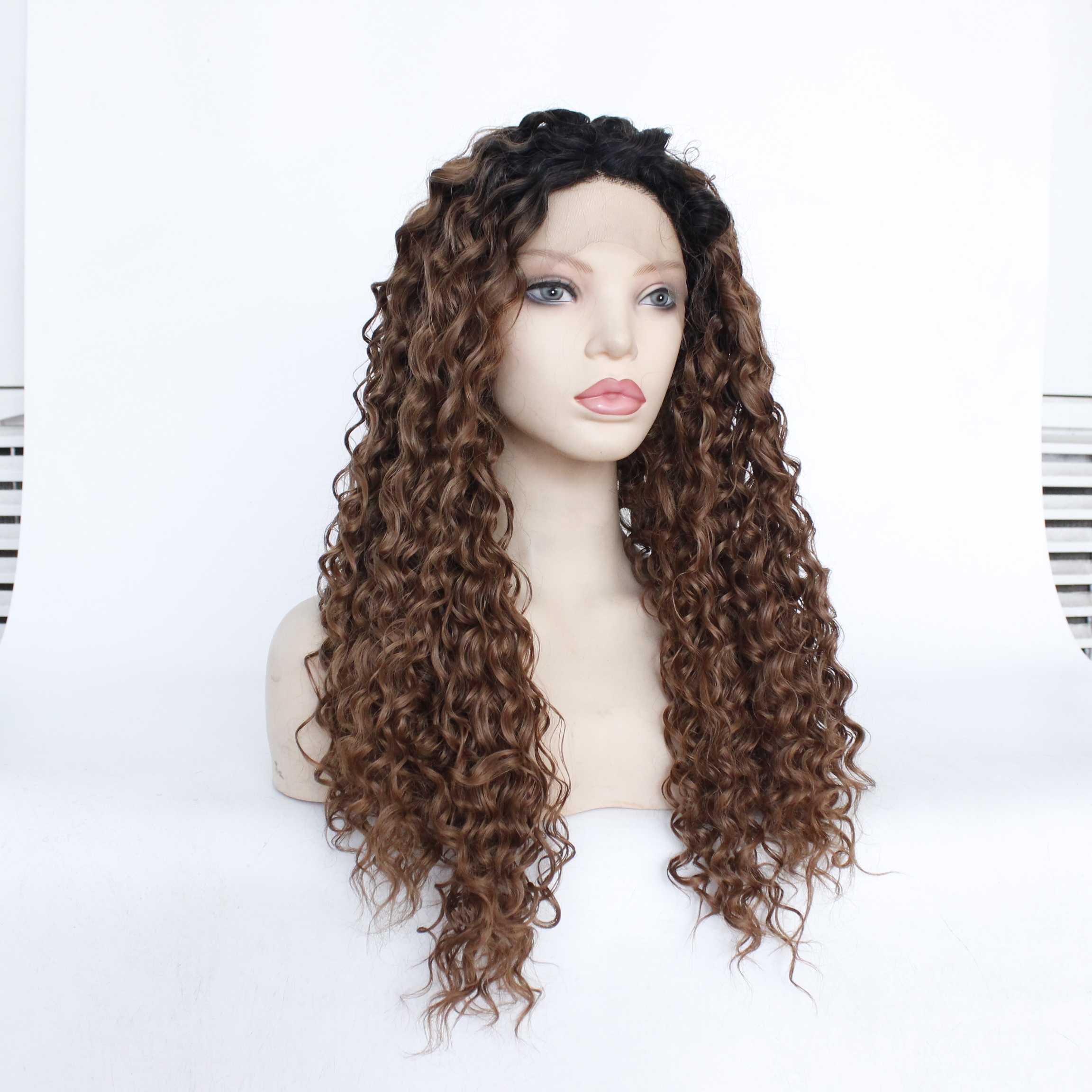 Perruque lace front wig synthétique sans colle MRWIG | Cheveux longs bouclés et crépus, couleur auburn 1b #/#30, sans colle