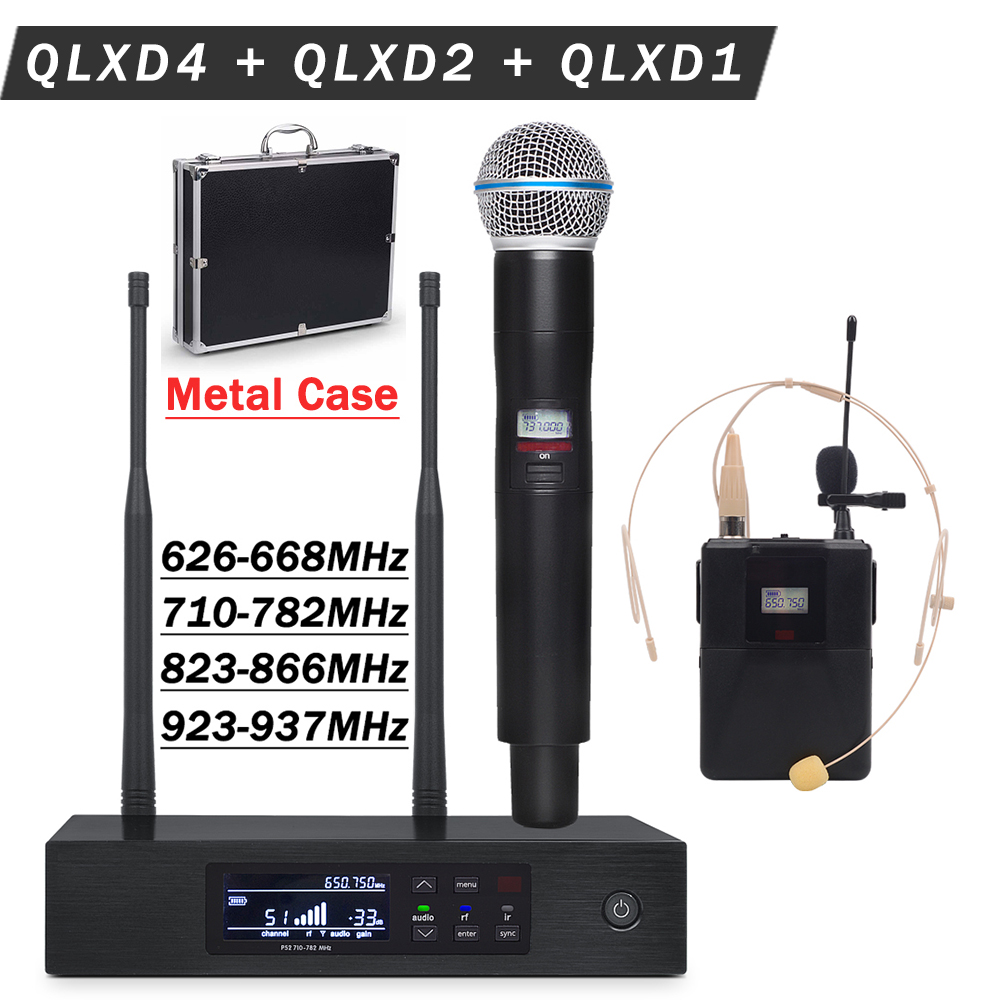 Metal Case for Stage !! UHF Wireless Microphone System QLXD4 Receiver + QLXD1 Bodypack + Lavalier + Headset mic+ QLXD2 Handheld-in Microphones from Consumer Electronics    1