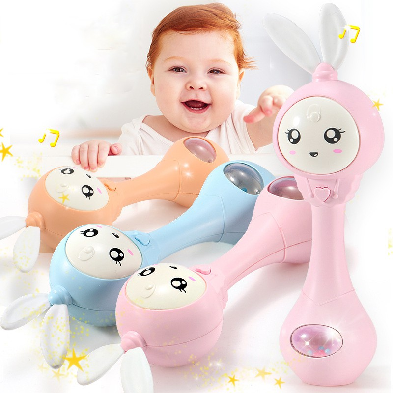 Baby Toys Hand Bells Puzzle Music And Flashing Shaking Rattles 6-12 Months Sound And Light Rhythm Induction Baby Rattles