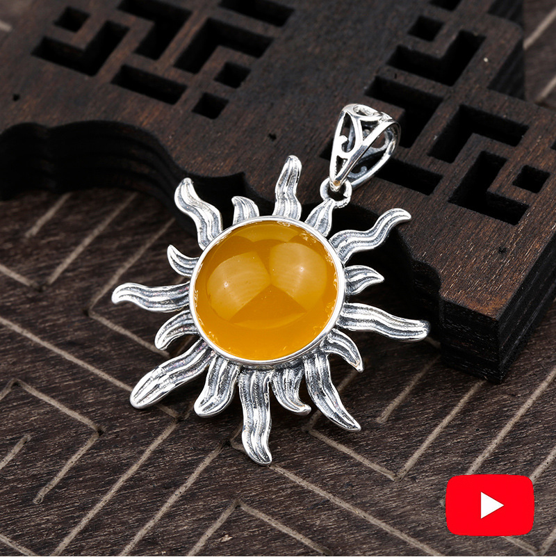 10*10mm NOT FAKE S925 Sterling Silver Ukraine Amber Pedants Artisan Baltic Health Rich Lithuania Antique  Yellow