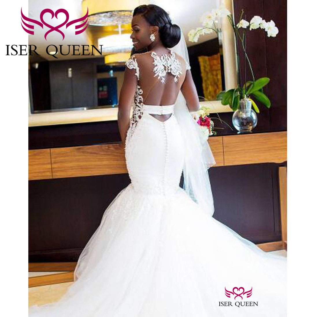 Appliques Cap Sleeves Illusion Sweetheart Neck Mermaid Wedding Dresses Africa Stylish Button Pure White Porte Nom Mariage W0360