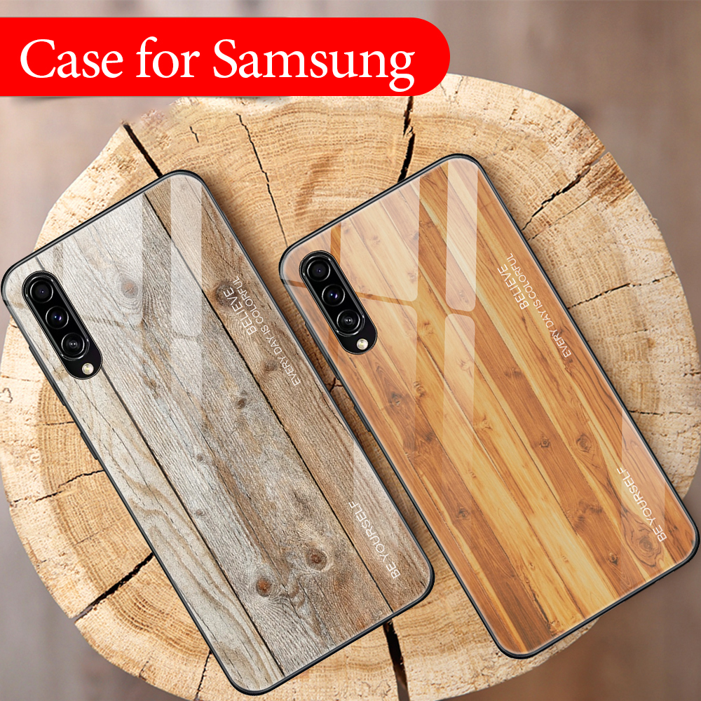 Wood Grain Pattern <font><b>Glass</b></font> <font><b>Case</b></font> For <font><b>Samsung</b></font> Galaxy A50 A30 A40 A20 <font><b>A10</b></font> <font><b>Case</b></font> Shockproof Cover For <font><b>Samsung</b></font> A30S A50S A 50 30 S <font><b>Case</b></font> image