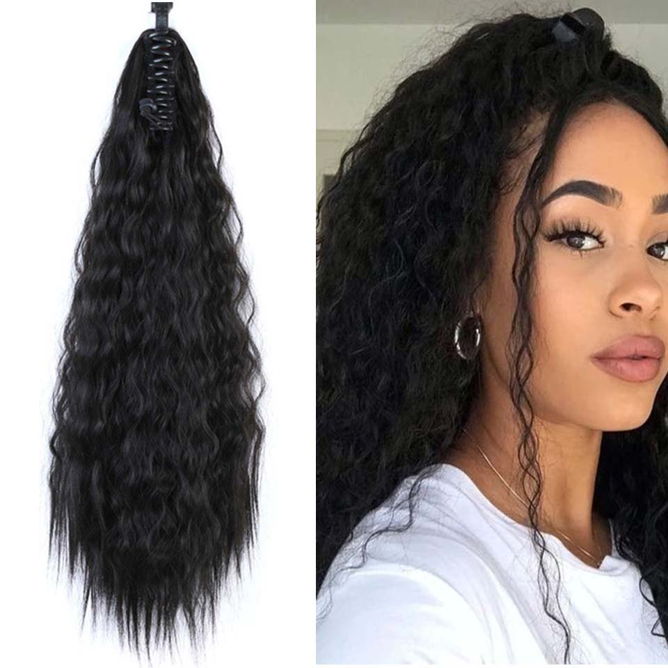 LUPU 22 Inch Ponytail Wig Women's Long Hair Clamp Natural Black Curly Big Wave Bandage Wig Clip On Hair Extension