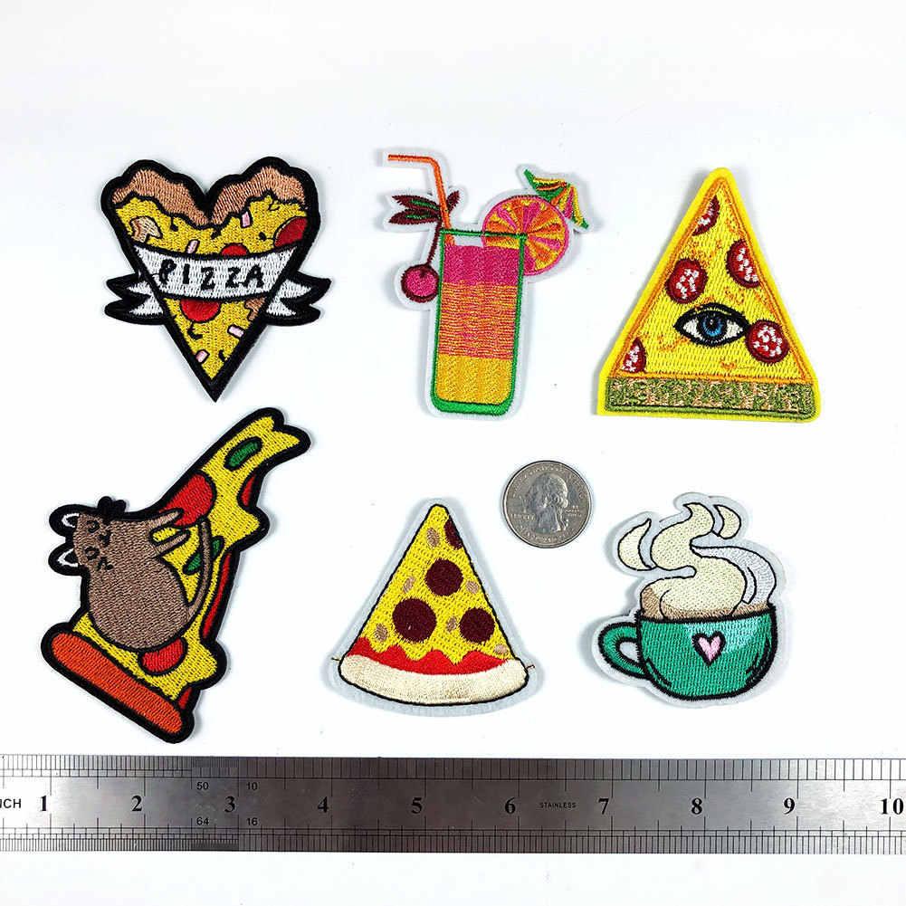 Pizza Muis Fastfood Patches Ijzer Op Stickers Cartoon Thee Cup Applicaties Drinken Warmte Badges Jas Kleding Decor Parches voor kids