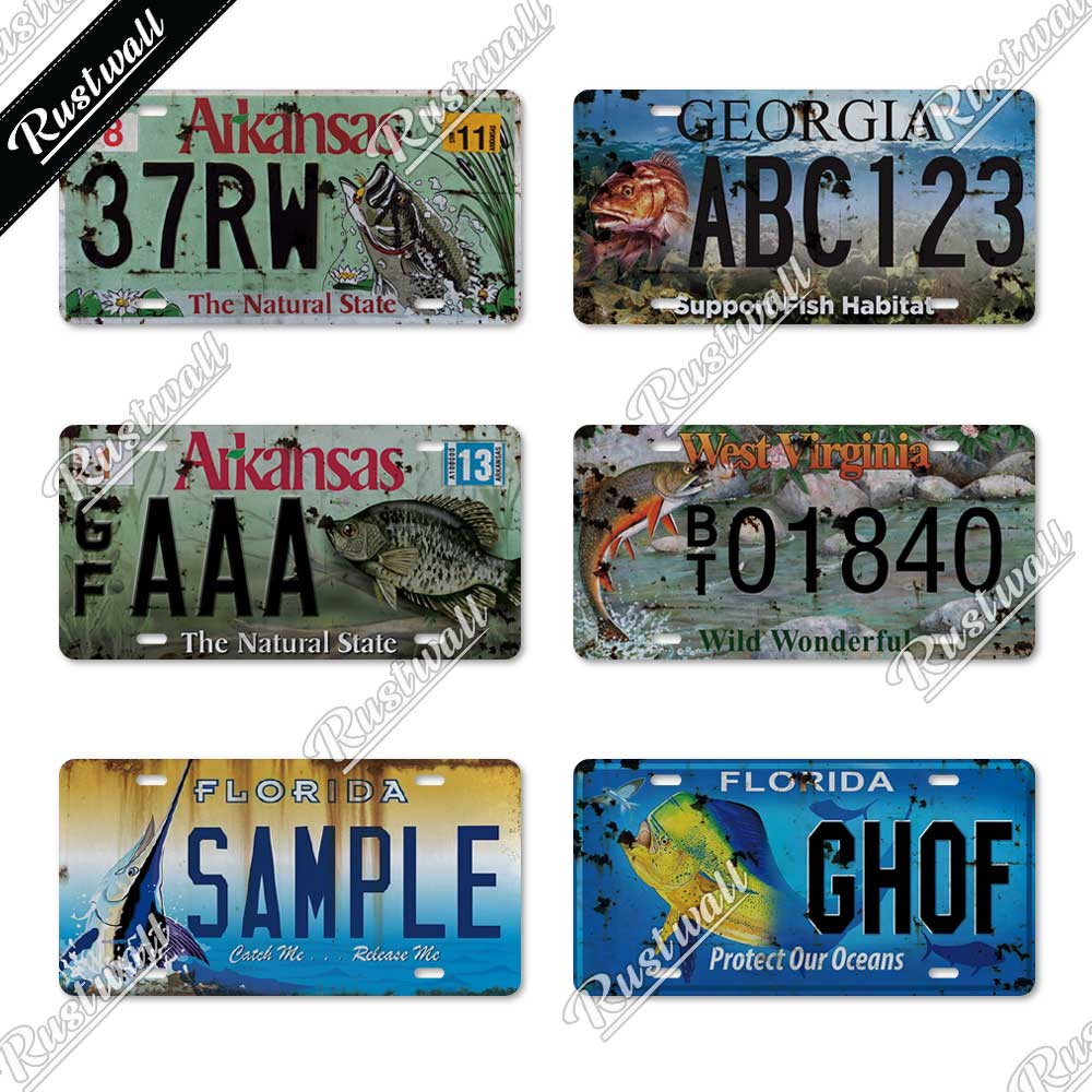 Fish Vintage Metal Sign Licenses Plate Tin Sign Decor Plaque Metal Lake House Cabin Fishing Shop Home Wall Decoration Plaques Signs Aliexpress