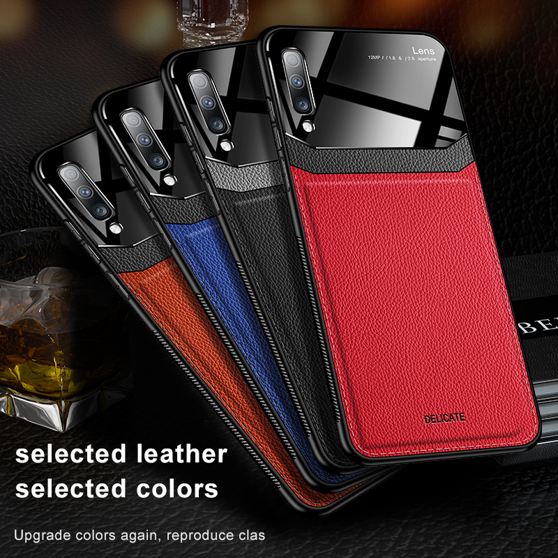 For <font><b>Samsung</b></font> Galaxy <font><b>A50</b></font> A70 A7 leather Mirror <font><b>glass</b></font> Silicone phone <font><b>Case</b></font> For <font><b>Samsung</b></font> Galaxy Note 8 910 Pro 2018 Cover Coque image