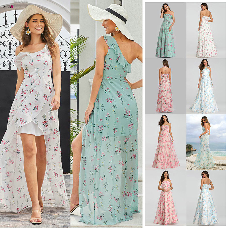 Simple Floral Printed Prom Dresses Ever Pretty A-Line Side Split Sleeveless Sexy Beach Style Chiffon Party Dresses Vestidos 2020