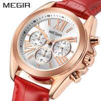 Kobiety zegarki Top marka luksusowe MEGIR kwarcowy panie Zegarek kwarcowy skórzane kobieta zegar Roma numer projektant Zegarek Damski 2019