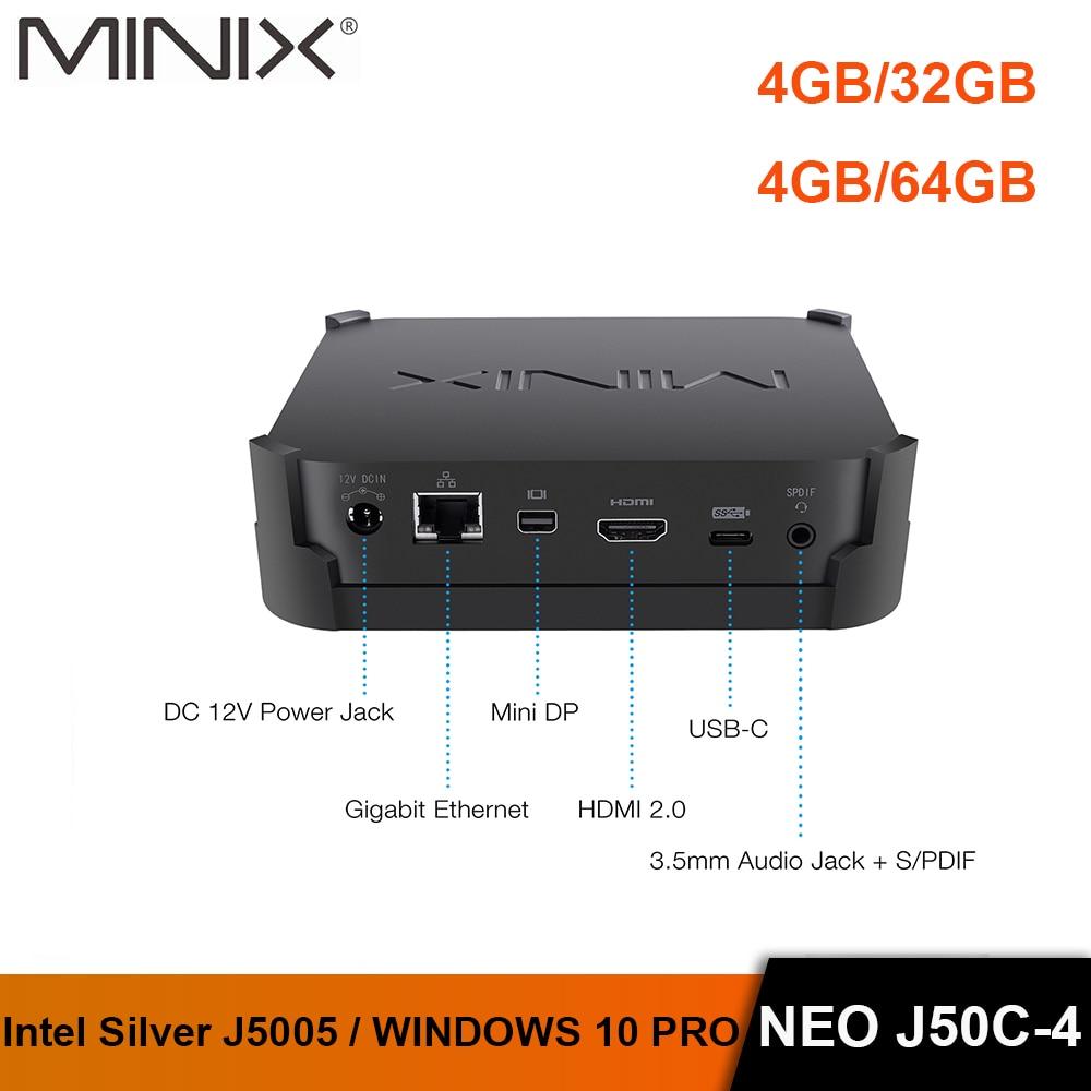 MINIX NEO J50C-4 Oficial do WINDOWS 10 PRO SERIES MINI PC Intel Pentium Prata J5005 DDR4 4 GB/32 GB HDMI 2.0 Vesa MINI-PC