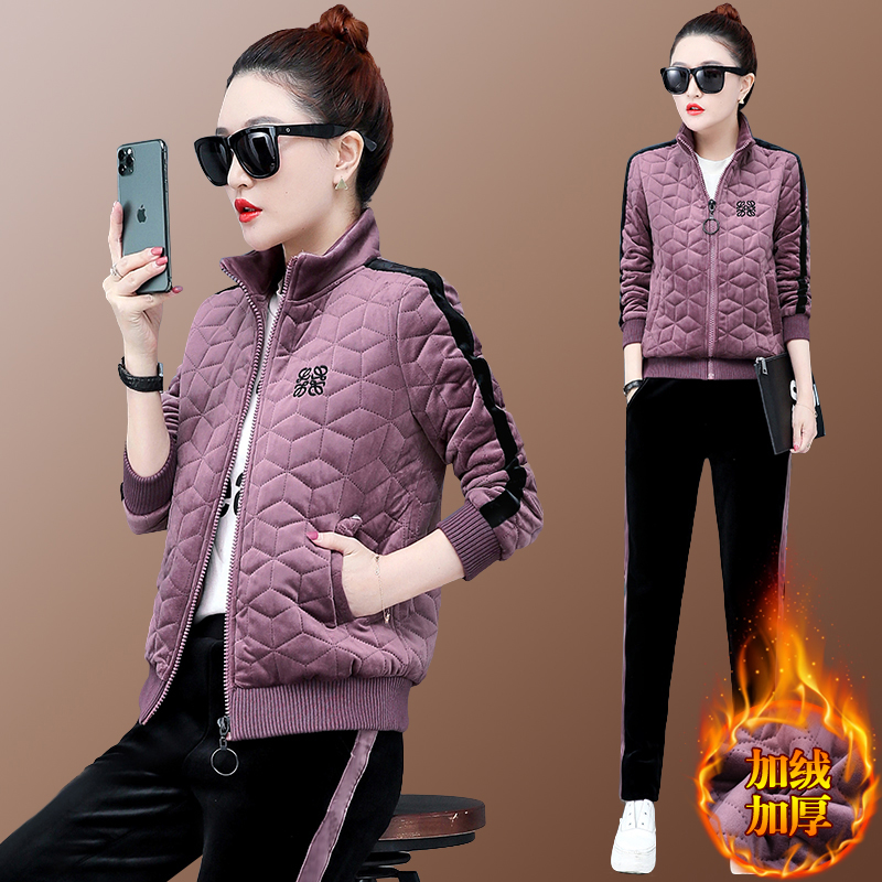 2019 Autumn Winter Women Velvet Tracksuits Two Piece Set Large Size Zipper Coat+pants Womens Plus Size Velour Sets Clothing 4XL