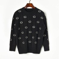 High Quality 2019 Winter Pick Embroidery Eye Long Sleeve Knitting Sweater Women's Pullover Z92710,