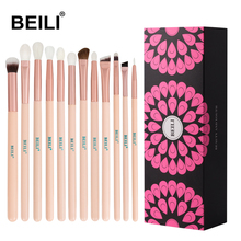 BEILI Pink Rose makeup brushes goat hair eye blending pro set eyebrow eyeshadow 12 pcs brushes plus makeup sponge in box