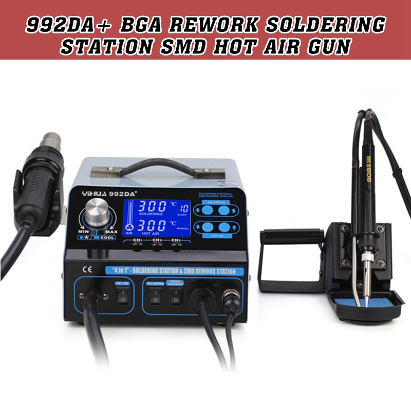 992DA+ BGA Rework Soldering Station SMD Hot Air Gun Solder Iron Pen Repair Board Spot Welders Magnetic Heater Induction Coils