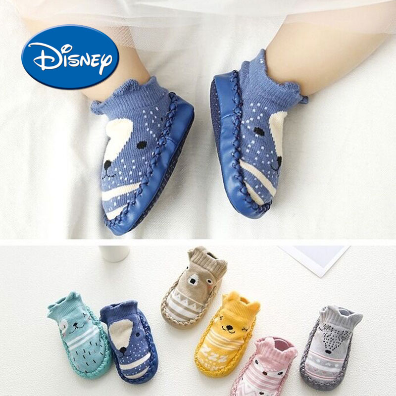 Disney Cotton Todler Foot Socks Cartoon Baby Cotton Shoes Fox Non-slip Soft Sole Floor Socks