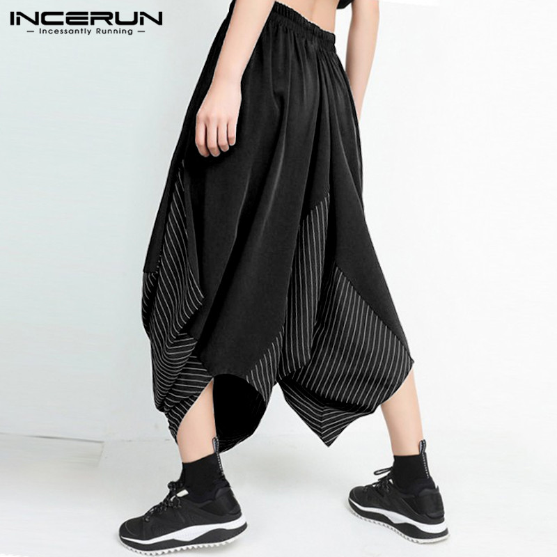 2020 Summer Man Wide Leg Hippy Style Trousers Men's Elastic Waist Patchwork Cropped Pants Stripes Loose Harem Bottoms For Male