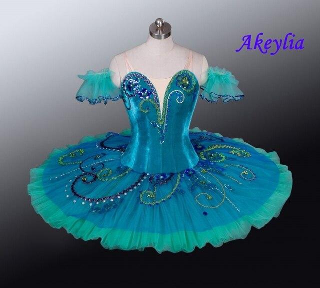 Yeşil gözleme Tutu sahne bale kostümü Esmeralda profesyonel bale giyim Nutracker el yapımı çocuk balerin Tutu