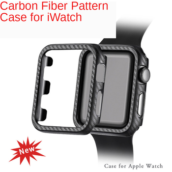 Carbon Fiber Pattern PC Case for Apple Watch Series SE 6 5 4 Luxury Watch Cases for iWatch 3 2 1 Armour Frame Protective Cover image