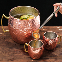 5L Hammered Copper Plated Stainless Steel Moscow Mule Mug Drum Type Beer Cup Large Capacity Coffe Cup Water Glass Drinkware