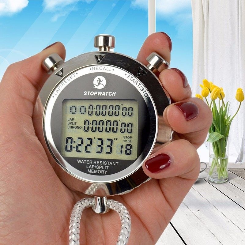 Metal Digital Timer Sports Stopwatch Water Resistant Memory Counter Antimagnetic Chronograph Fashionable Waterproof Timer PS-538