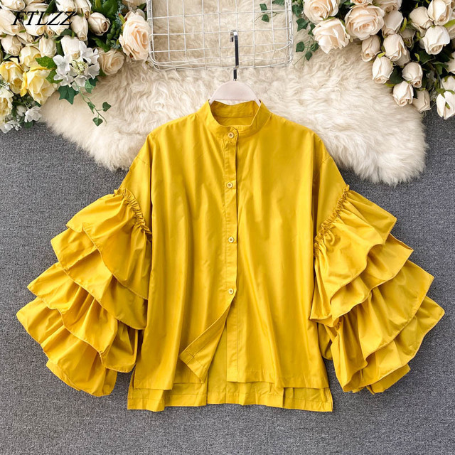 New Autumn Casual Ruffled Single Breasted Seaside Shirt Elegant Women Stand Collar Flare Sleeve Shirt Top