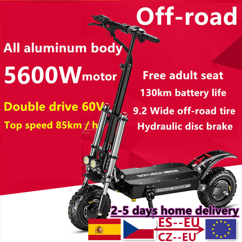 Бесплатная доставка 11 дюймов 60V5600W Электрический скутер для взрослых Высокая Скорость внедорожные Dual Drive складной электромобиль