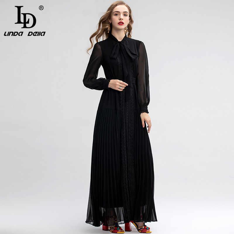 LD LINDA DELLA 2019 Fashion Designer Black Maxi Jurk vrouwen Lange Mouwen Borduren Vintage Lange Jurk Formele Party jurk
