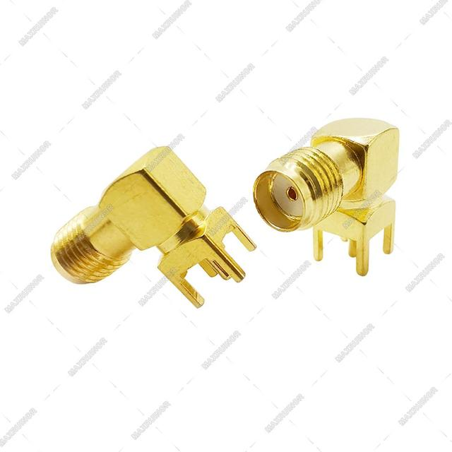 3000pcs Gilt SMA Female PCB Right Angle Connector Welding Jack Thru Hole Plug 90 Degree PCB Mount Connector RF Adapter