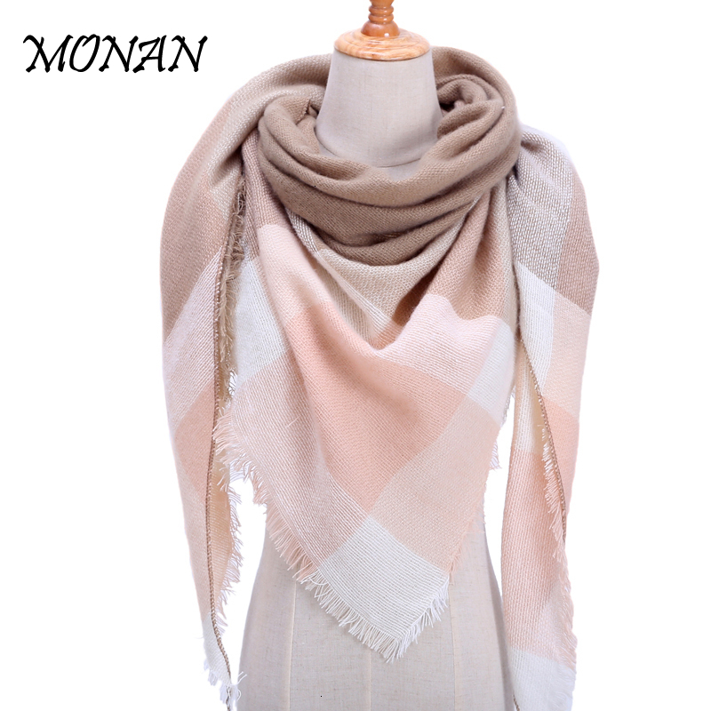 Dual-purpose Knitted Spring Winter Women Scarf Plaid Warm Cashmere Scarves Shawls Luxury Brand Neck Bandana  Pashmina Lady Wrap