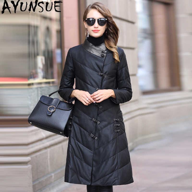 AYUNSUE/куртка из натуральной кожи; зимняя куртка для женщин в Корейском стиле; Длинные пуховики для женщин; пальто из натуральной овчины; Chaqueta Mujer; MY4016