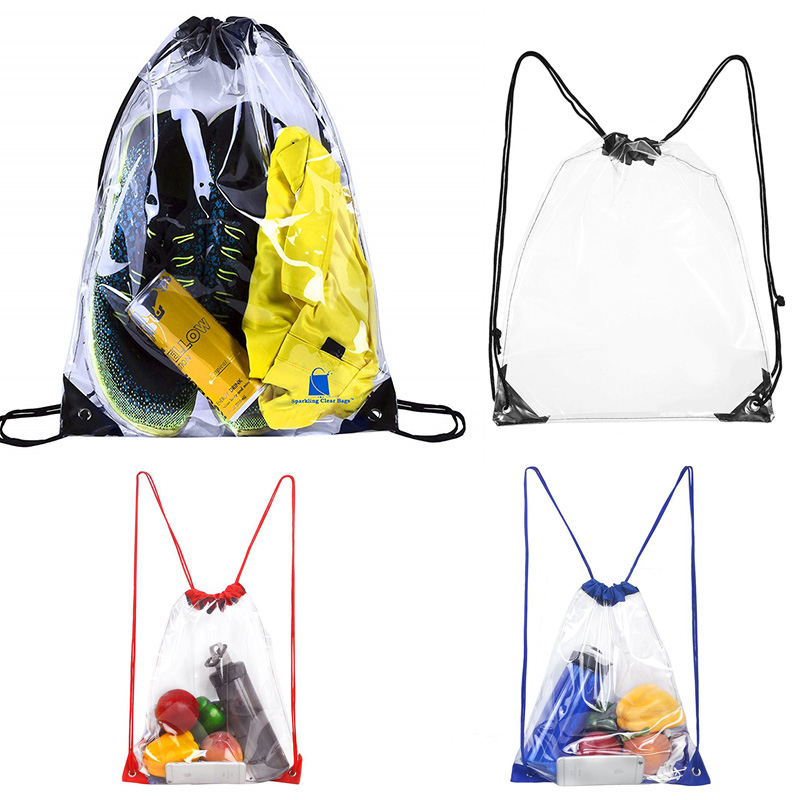 Transparent Drawstring Backpack Fruit storage Tote Gym Bag Sport Pack 45 x 34cm Unisex Large Capacity Lightweight Beach Backpack
