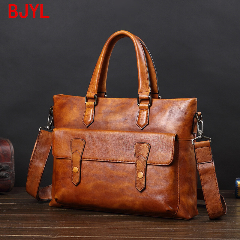 Leather Handbag Men's Bag Casual Shoulder Messenger Bag Business Briefcase Document Computer Bag Korean Fashion Leather Bags