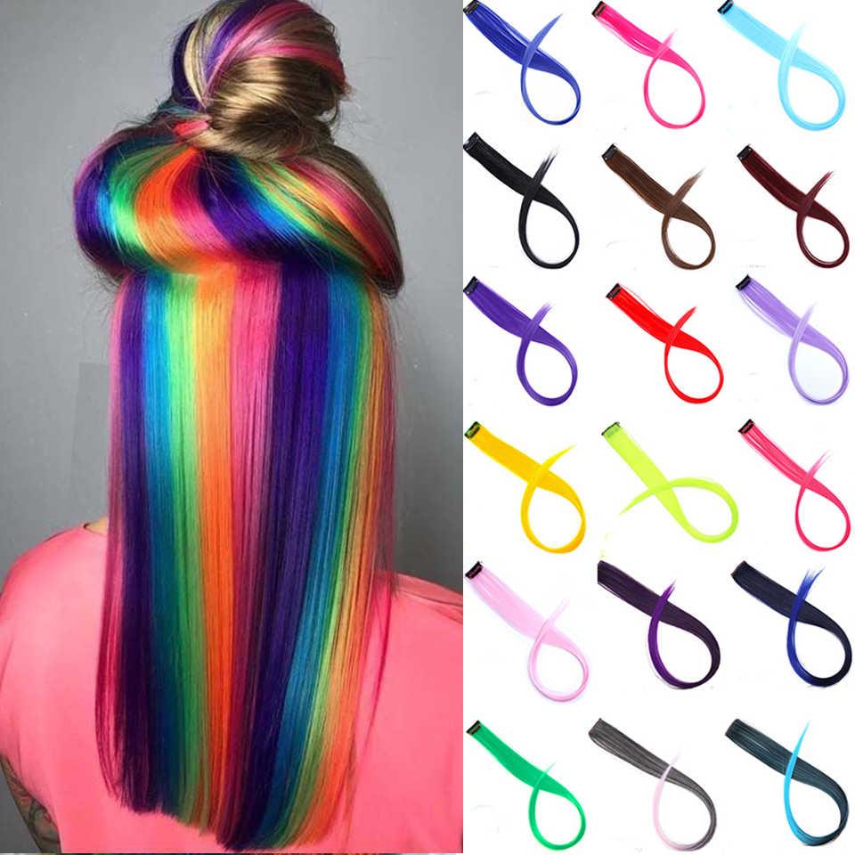 Lupu Nhiều Màu Sắc Làm Nổi Bật Cầu Vồng Tổng Hợp Làm Tóc Kẹp Trong Một Bộ 22 Inch Thẳng Dài Giả Tóc Miếng Dành Cho Nữ