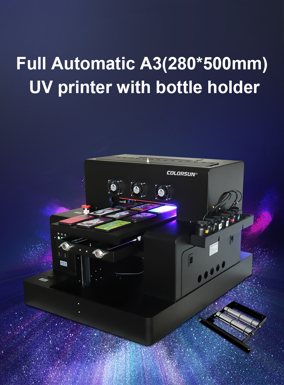 Colorsun Automatic L1800 A3 LED UV Printer (280*500mm) For phone case Cylinder wood glass printing machine with RIP 9.0 software
