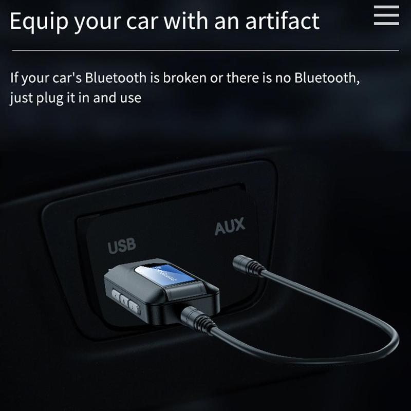Bluetooth 5.0 Adapter Wireless LCD Display USB Bluetooth Music Transmitter Audio Receiver TV Adaptador 3.5mm AUX For PC Car