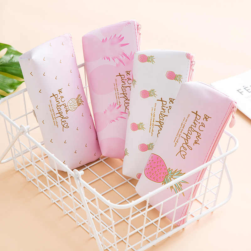 1 PCS Kawaii Pu Leather Pencil Case Pineapple School Pencil Box Pencilcase pink Pencil Bag GiftSchool Supplies Stationery