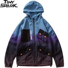 Männer Hip Hop Jacke Windjacke Streetwear Retro Harajuku Farbverlauf Block Jacke Mantel 2019 Tasche Zip Track Jacke Hoodie